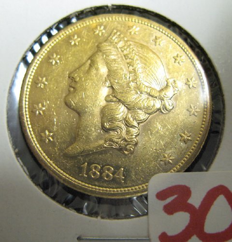 30: U.S. TWENTY DOLLAR GOLD COIN, Liberty head type, 18