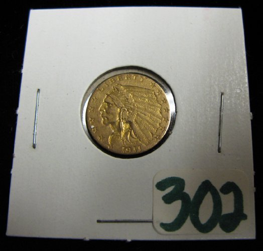 302: U.S. 2-1/2 DOLLAR GOLD COIN, Indian head type,  19