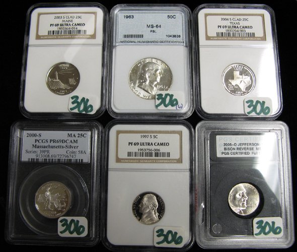306: SIX UNCIRCULATED U.S. TYPE COINS: 2005-D  Jefferso