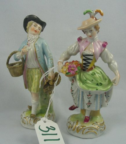 311: PAIR DRESDEN PORCELAIN ENAMELED FIGURES, of a  cou