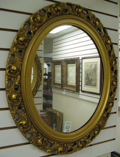 312: PAIR AMERICAN GILT WOOD OVAL WALL MIRRORS:  pierce