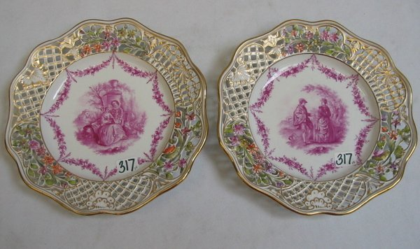 317: PAIR OF DRESDEN PORCELAIN PLATES, magenta colored