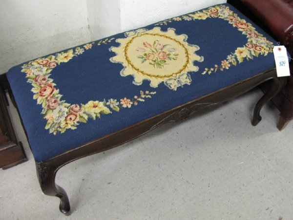 324: LOUIS XV STYLE NEEDLEPOINT BENCH, American, c.  19