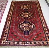 380 PERSIAN SHIRAZ AREA RUG a three geometric  medall