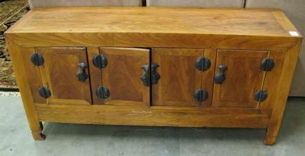 543: CHINESE CONSOLE CABINET of elmwood construction  w