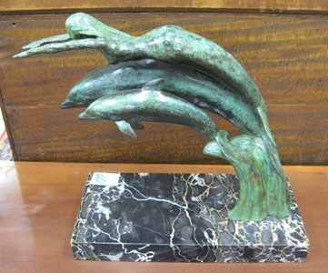 601: BRONZE FIGURAL GROUP, mermaid & dolphins