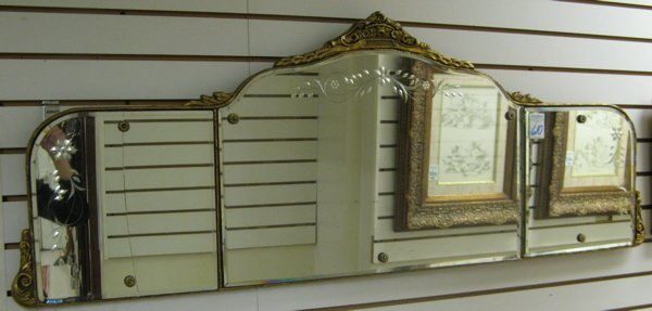 610: AN AMERICAN OVER-MANTEL MIRROR, engraved with  sty