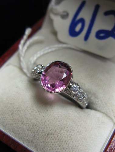 612: PINK TOURMALINE, DIAMOND AND EIGHTEEN KARAT WHITE