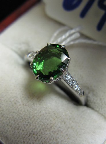 614: TSAVORITE GARNET, DIAMOND AND EIGHTEEN KARAT  WHIT