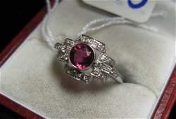 775: PINK TOURMALINE, DIAMOND AND EIGHTEEN KARAT WHITE