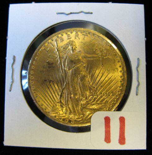 11: U.S. TWENTY DOLLAR GOLD COIN, St. Gaudens type,  19