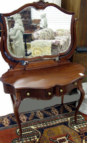 16: MAHOGANY DRESSING TABLE WITH ATTACHED TILT  MIRROR,