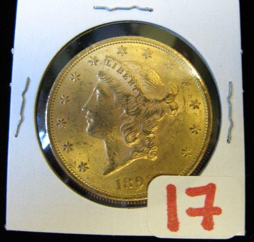 17: U.S. TWENTY DOLLAR GOLD COIN, Liberty head type, 18