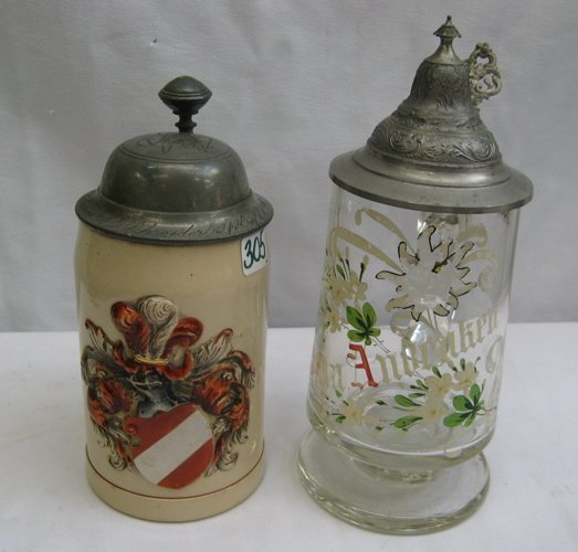 305: TWO GERMAN BEER STEINS.  One is a 19th C.  stonewa