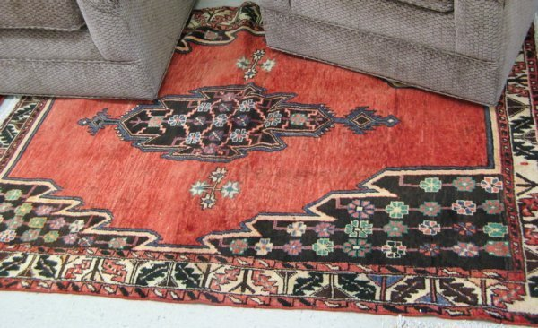 308: PERSIAN MASLAGHAN VILLAGE AREA RUG, the plain  red