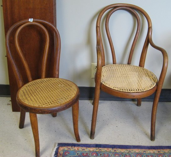 310: TWO THONET BENTWOOD SALESMAN'S SAMPLE CHAIRS,  Mic