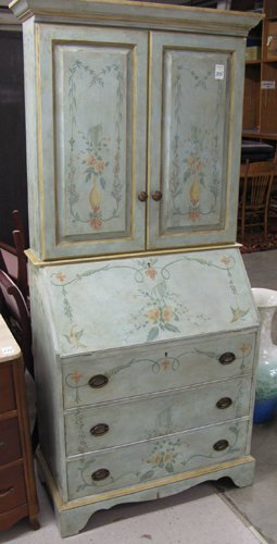 315: FEDERAL STYLE PAINT DECORATED SECRETARY  BOOKCASE,