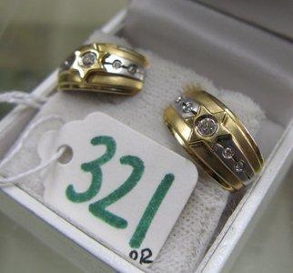 321: PAIR OF DIAMOND AND FOURTEEN KARAT YELLOW AND  WHI