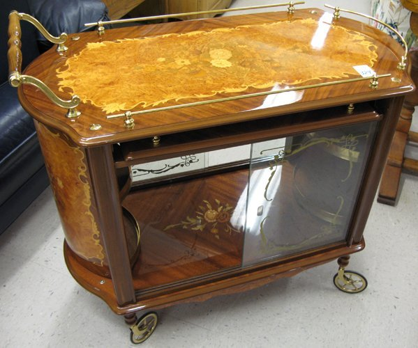 324: A MAHOGANY AND BURL MAPLE MARQUETRY SERVING  CART,