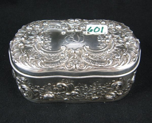 601: GORHAM STERLING SILVER JEWELRY BOX, flowers and  s
