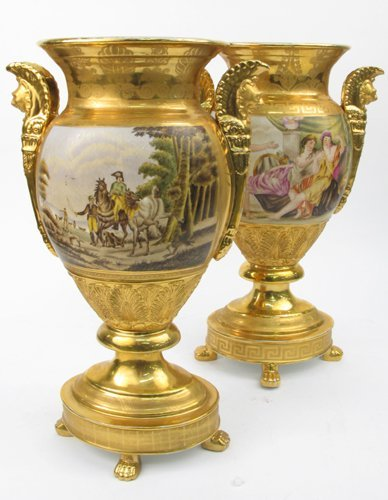 727: PAIR K.P.M. GERMAN PORCELAIN URNS with ovoid  open