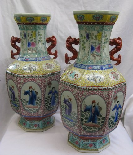 817: PAIR OF CHINESE ENAMELED PORCELAIN VASES, hand  pa