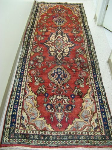 20: PERSIAN HAMADAN RUNNER, floral and central  floral