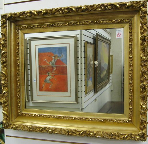 22: AN AMERICAN GILT WOOD AND GESSO PAINTING FRAME  ins