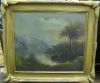 194: HUDSON RIVER SCHOOL oil on canvas Mountain landsc