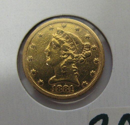 305: U.S. FIVE DOLLAR GOLD COIN, Liberty head type,  18