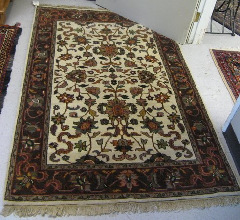 308: HAND KNOTTED AGRA AREA RUG, overall floral  design