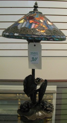 311: AN UNUSUAL TABLE LAMP with 10 in. diameter  staine
