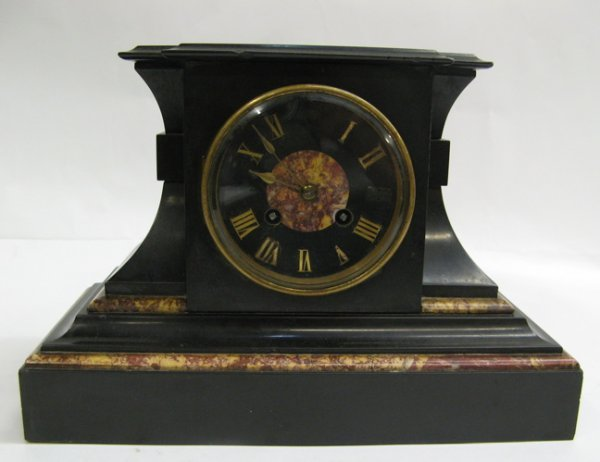 313: A BRITISH SLATE AND BLACK MARBLE MANTEL CLOCK  wit