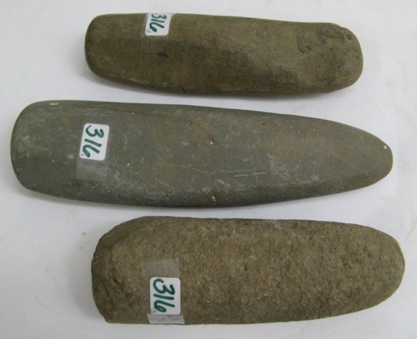 316: THREE NATIVE AMERICAN STONE PESTLES, probably  Sou