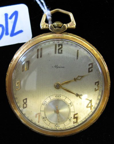 612: SWISS EIGHTEEN KARAT GOLD POCKET WATCH, Alpina  Wa