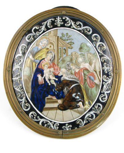615: FRENCH LIMOGES ENAMEL on oval copper. Depicts  the