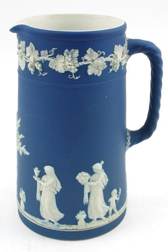 618: WEDGWOOD BLUE JASPERWARE PITCHER, English, c.  189