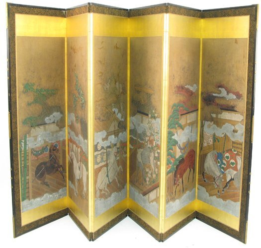 649: JAPANESE SIX-PANEL PAPER SCREEN, 19th century,  ea
