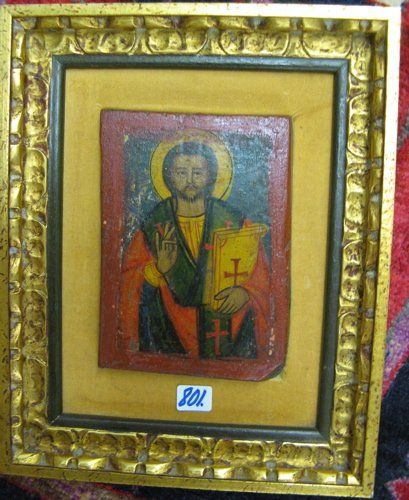 801: A RUSSIAN WOOD ICON from Alaska. A relatively  cru