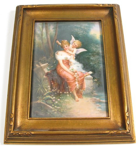 1: GERMAN PORCELAIN PLAQUE, hand painted with woman in
