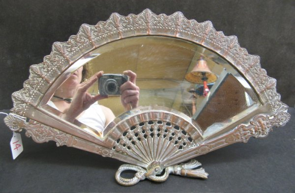 14: COPPER CLAD TABLE FAN-SHAPED MIRROR, the beveled gl