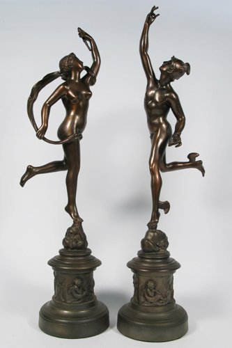 15: PAIR SPELTER CLASSICAL FIGURES: the Greek god, Mer