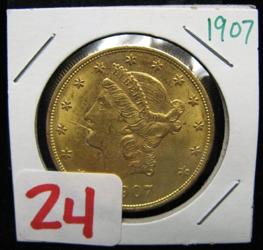 24: U.S. TWENTY DOLLAR GOLD COIN, Liberty head type, va