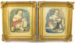 109 TWO CURRIER AND IVES COLOR LITHOGRAPHS in large f