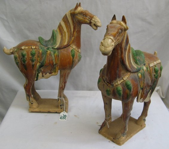 306: 306: PAIR TANG STYLE CHINESE HORSES, clay glazed w