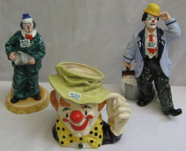 320: 320: A GROUP OF THREE ROYAL DOULTON CLOWN CHARACTE