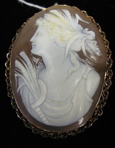 322: 322: VICTORIAN CAMEO BROOCH, an oval portrait of a