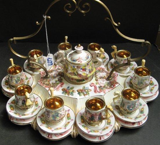 609: 609: A CAPODIMONTE ITALIAN COFFEE SET: ten cups wi