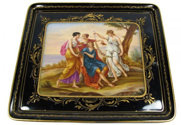 611: 611: ROYAL VIENNA PORCELAIN TRAY, hand painted wit