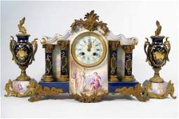 768 768 A THREE PIECE FRENCH SEVRES PORCELAIN CLOCK